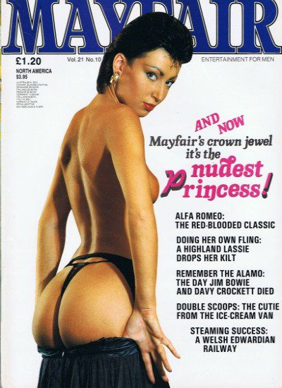 Front cover of Mayfair Volume 21 No 10 magazine