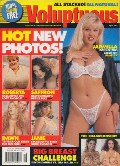 Front cover of Voluptuous April 1997 magazine